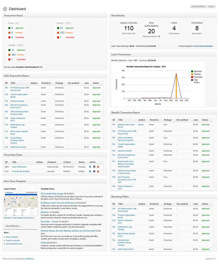 WordPress Admin Dashboard Plugin