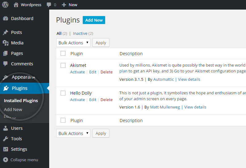 How to install a plugin in WordPress-1
