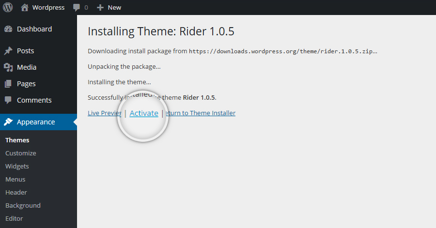 How to install a theme in WordPress-Step_3
