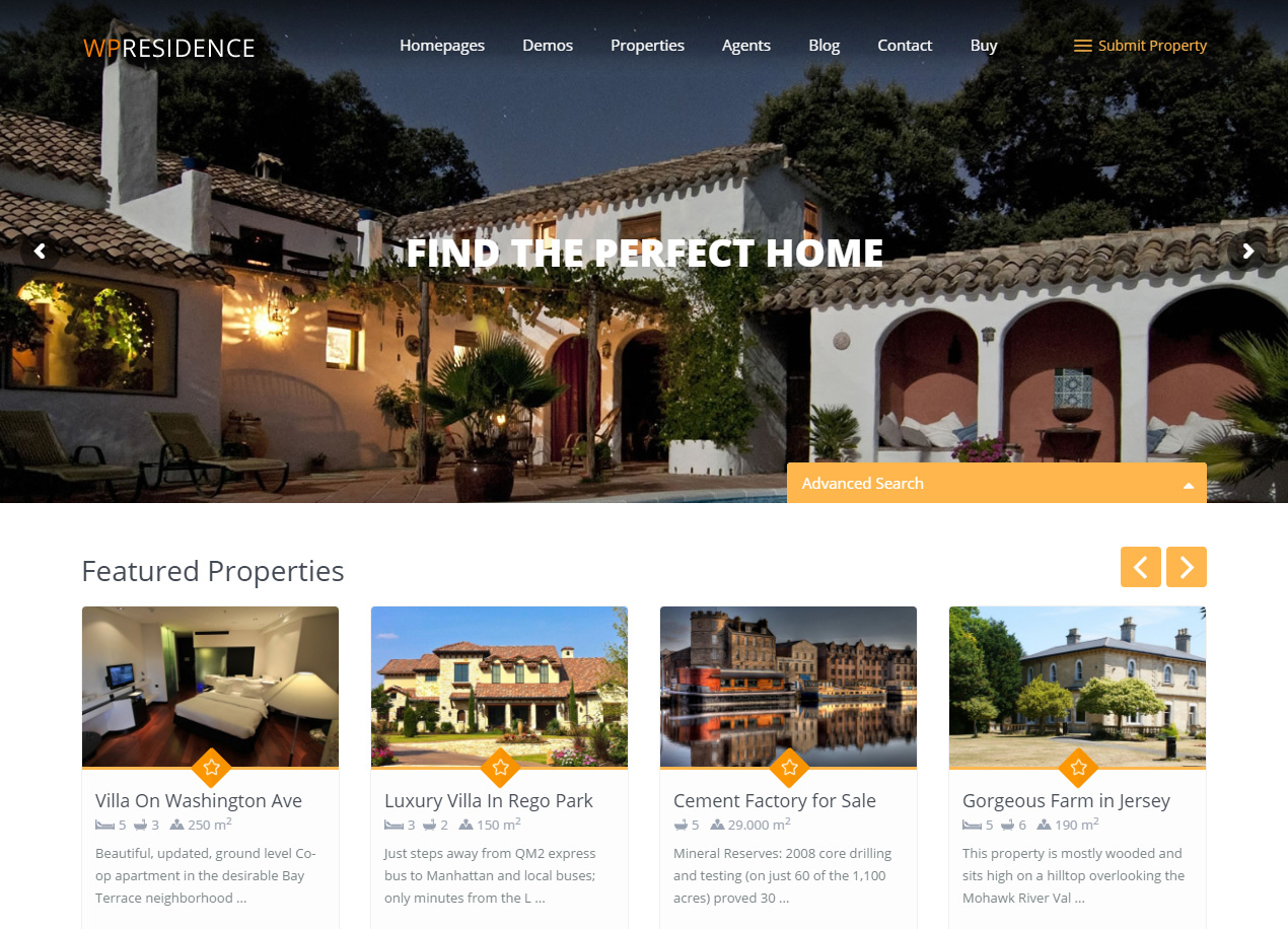 WP Residence - Demo 5 Professional Real Estate WordPress Theme
