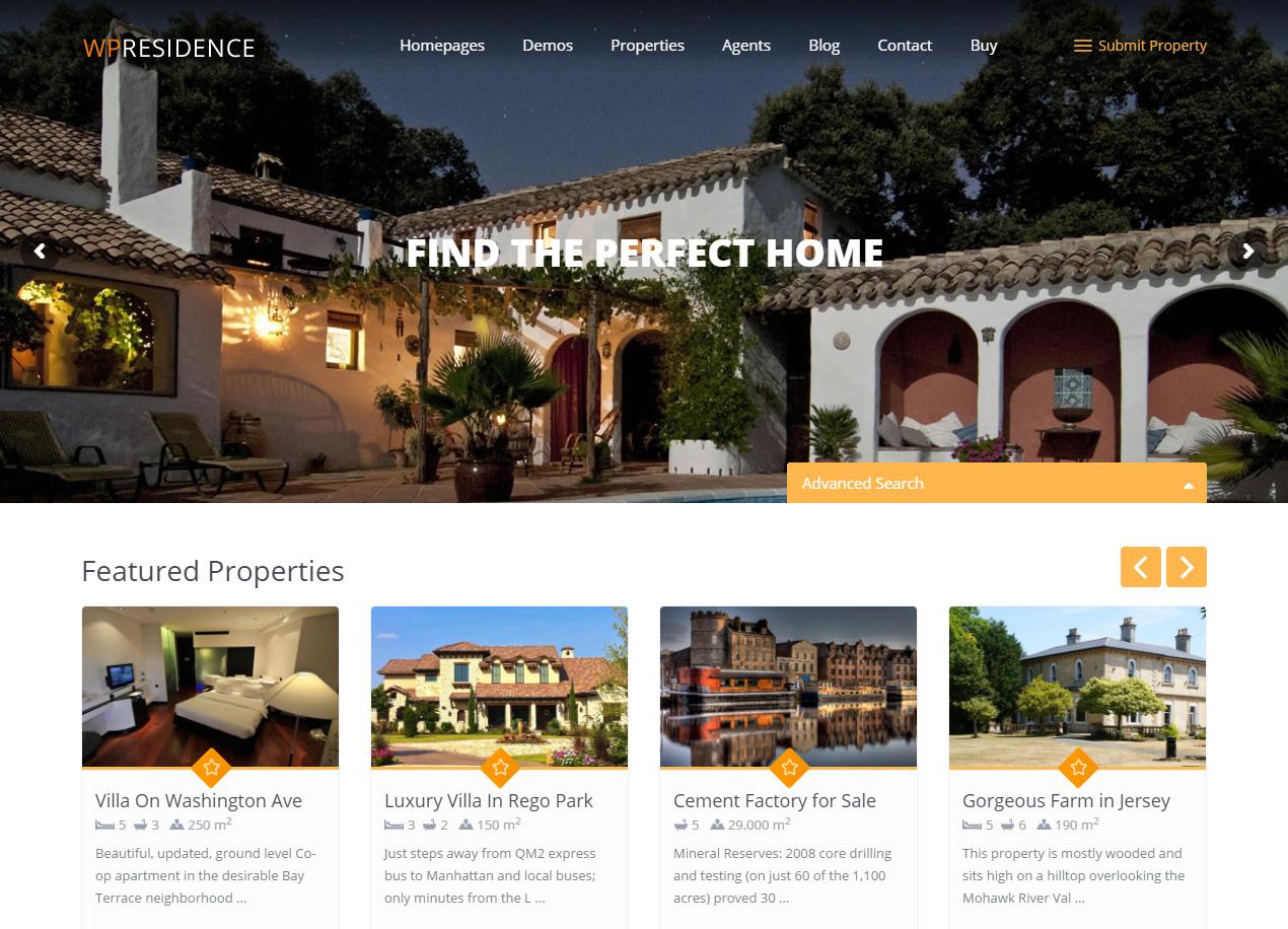 WP Residence - Demo 5 Professional Real Estate WordPress Theme