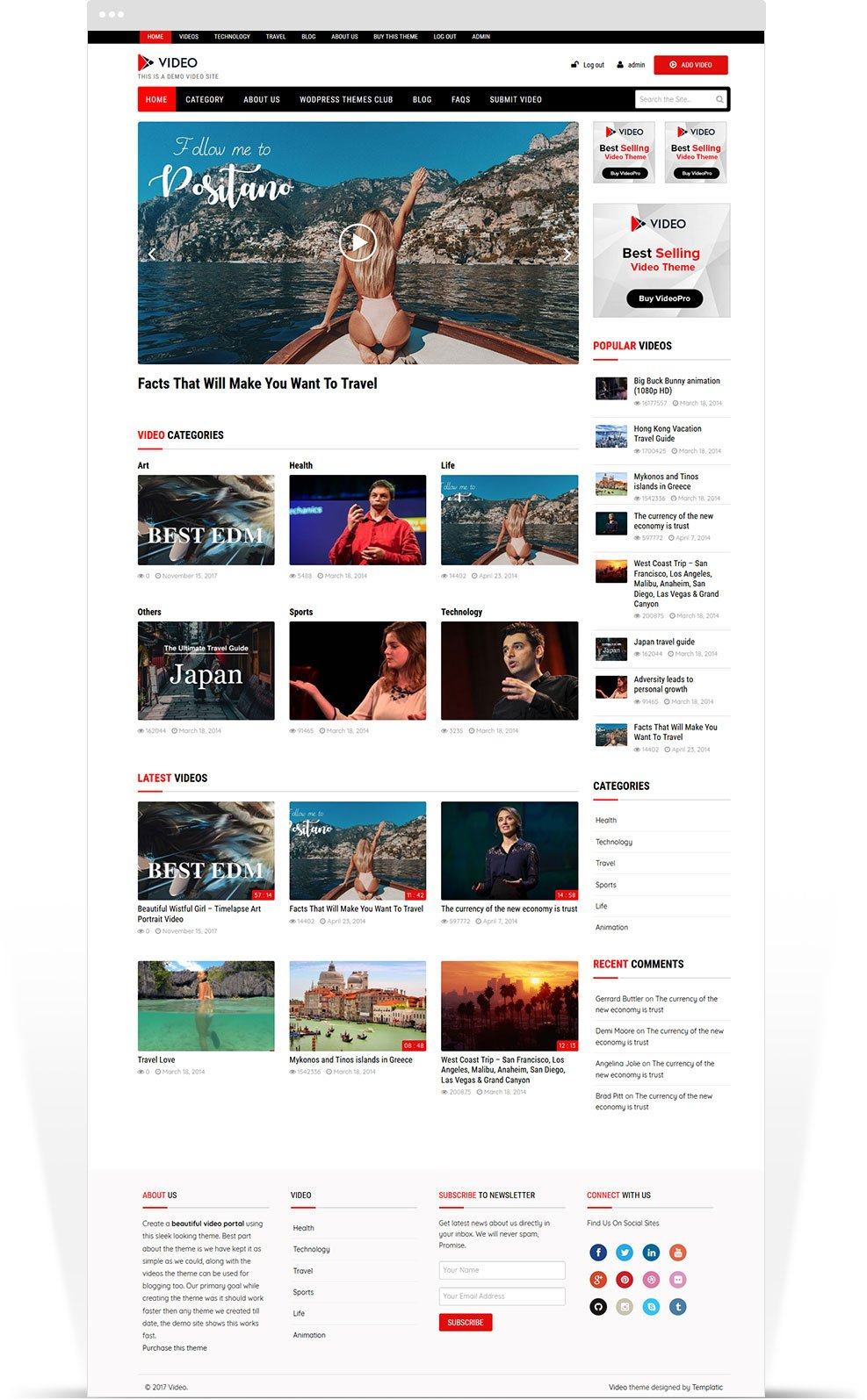 Video Theme - WordPress template for youtube clone website
