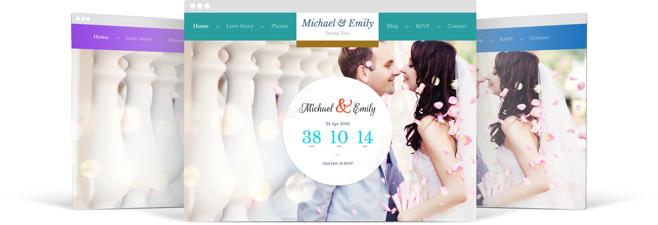 Fully Color Customized WordPress Wedding Theme