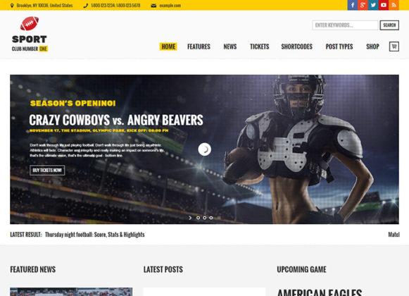 Sport Club WordPress Theme