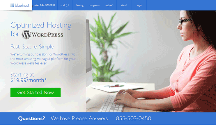 WordPress optimized hosting from Bluehost