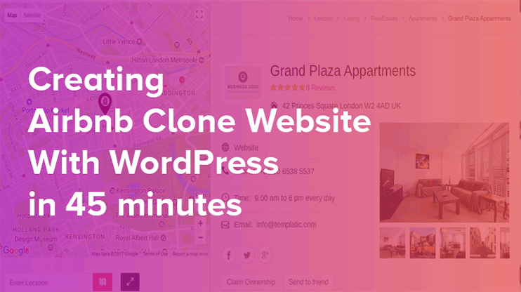 Airbnb WordPress clone template to start online directory in