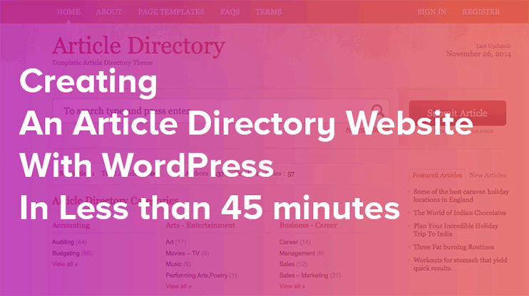 Best WordPress article Directory script