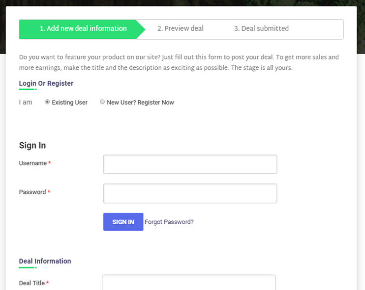 deals directory software: Submission form