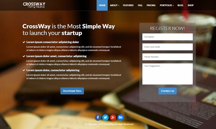 Startup Landing Page Bootstrap WP Theme