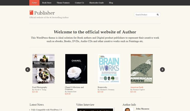 22+Best WordPress themes for Authors, writers, publishers