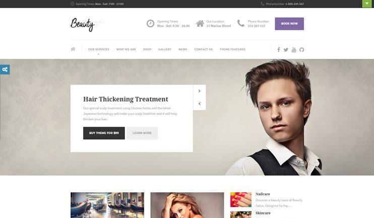 Beauty Hair Salon Nail Spa Fashion WordPress Theme
