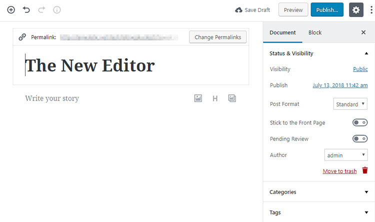 The Gutenberg WordPRess editor