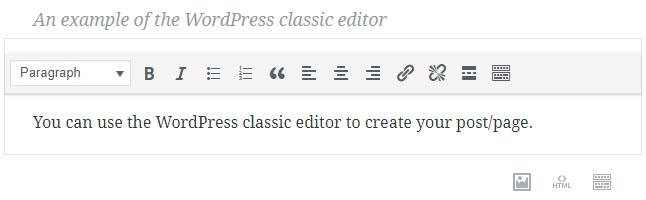WordPress Gutenberg block, classic editor