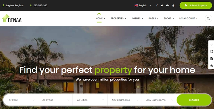 Benaa WordPress real estate theme