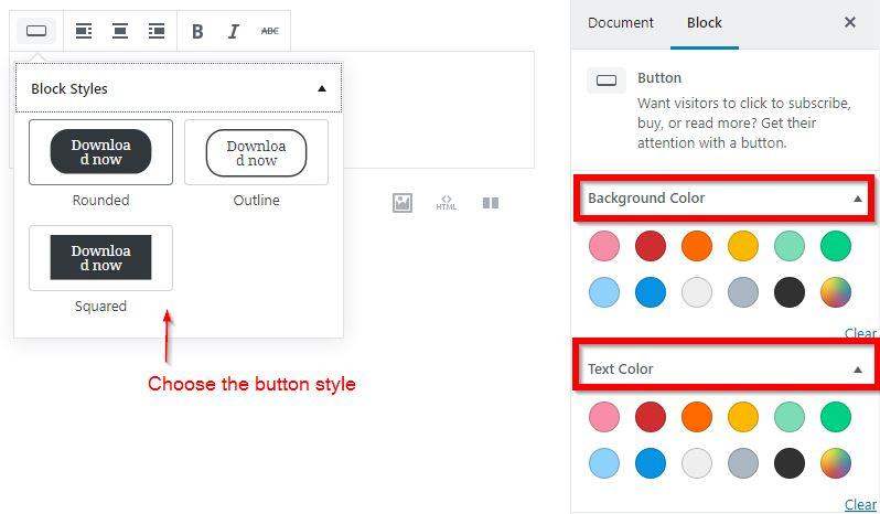 Gutenberg button block: format buttons