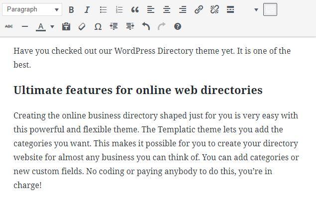 WordPress classic editor block