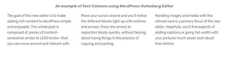 Gutenberg column text block