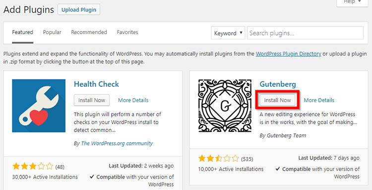 Install WordPress Gutenberg plugin