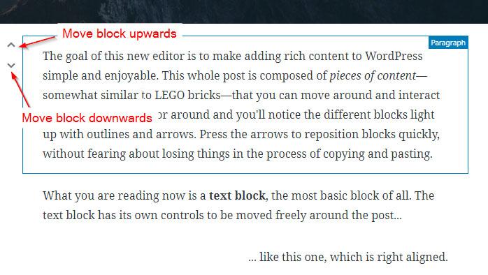 Moving Gutenberg block