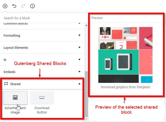 Gutenberg shared blocks