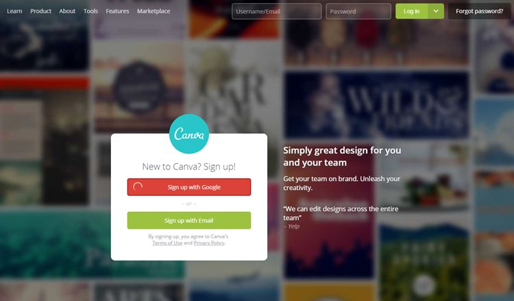 Canva Blog tool to create custom web images