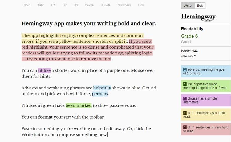 Hemingway editor: Blogging tools