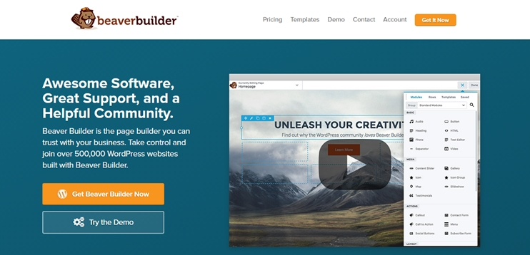 Beaver builder drag and drop page builder