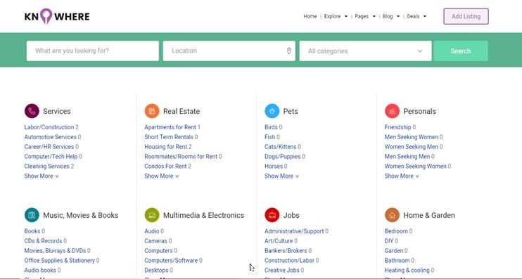 Knowhere classifieds website template
