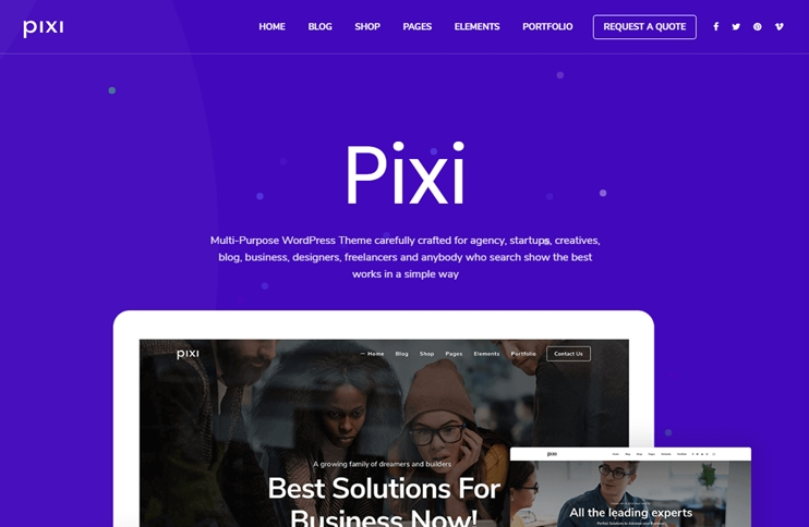 Pixi - Responsive Multi-Purpose Theme, Best Premium WordPress Themes, themeforest