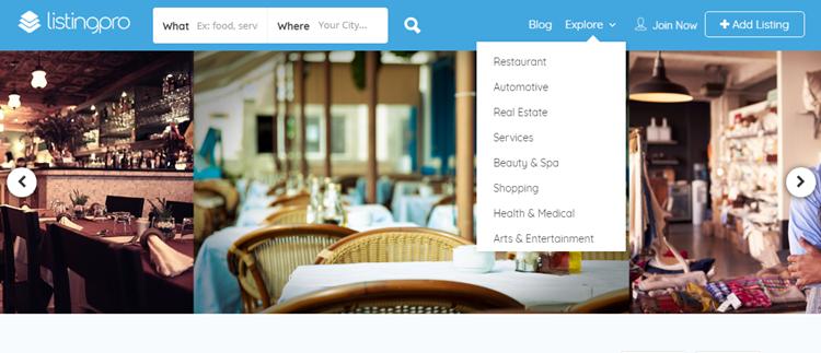 Listing pro theme menu