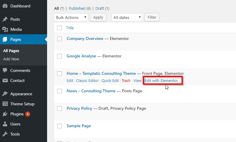 Edit with Elementor Page builder