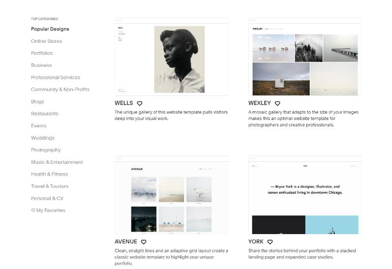 Sqarespace templates & WordPress themes