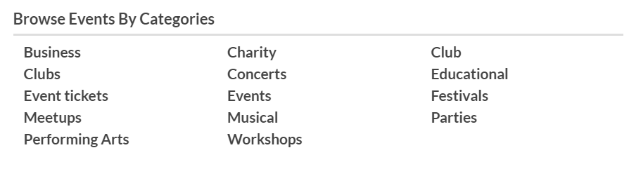 creating events categories