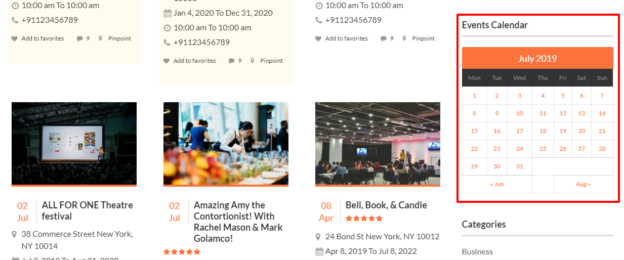 Adding events calendar to your events website