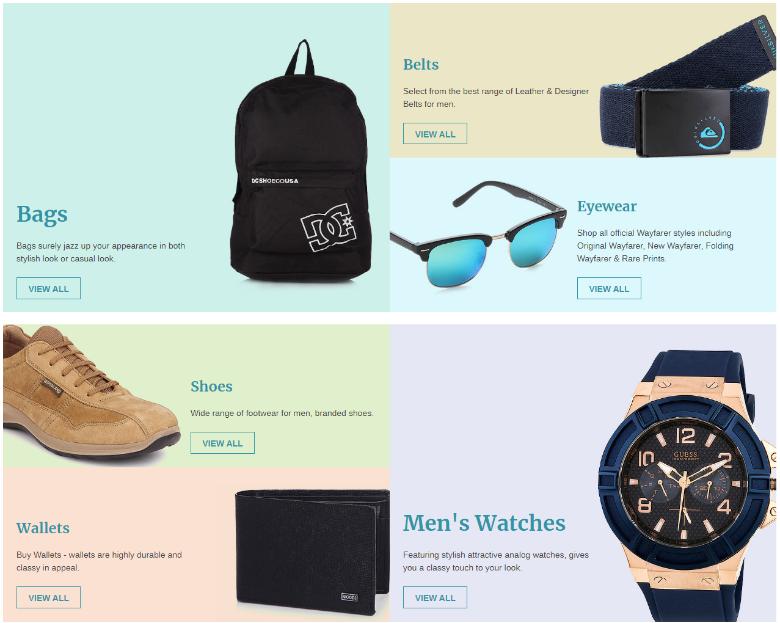 Categorize eCommerce website design