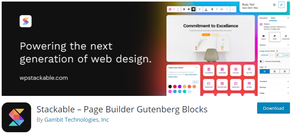 Gutenberg blocks from stackable