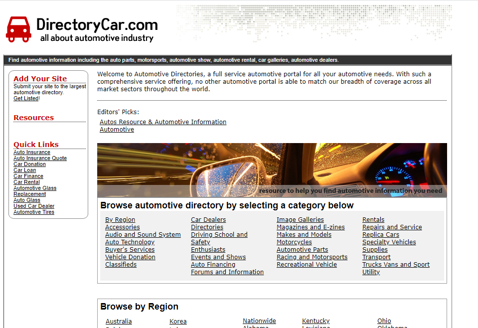 Car directory website