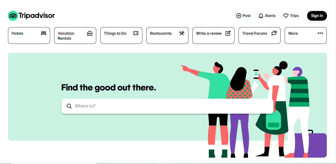 The tripadvisor website