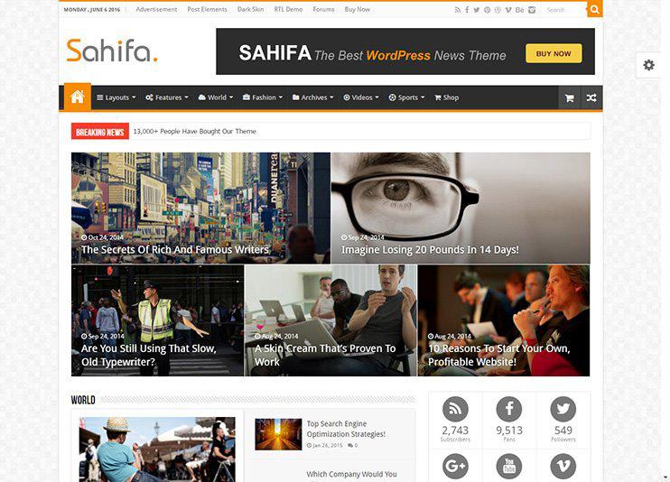 Sahifa - Blog Magazine Newspaper Theme at ThemeForest