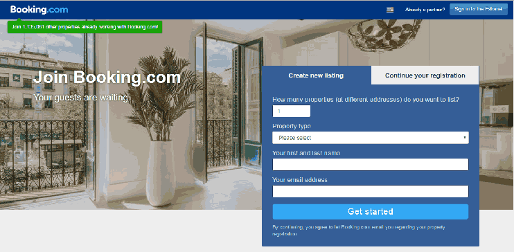 Booking Com Hotel Login Page